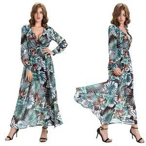 Dresses & Skirts - Tropical Print Dress Maxi Surplice Plunge V Neck